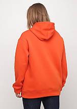 Худі жіночий теплий, колір морквяний подовжений Oversize 02, фото 2