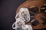 """Люстра деревянная """"Колесо телеги"""" с пивными бокалами, фото 2"""