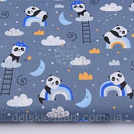 """Ткань хлопковая """"Спящие панды на радуге"""" на сером фоне №2592"""