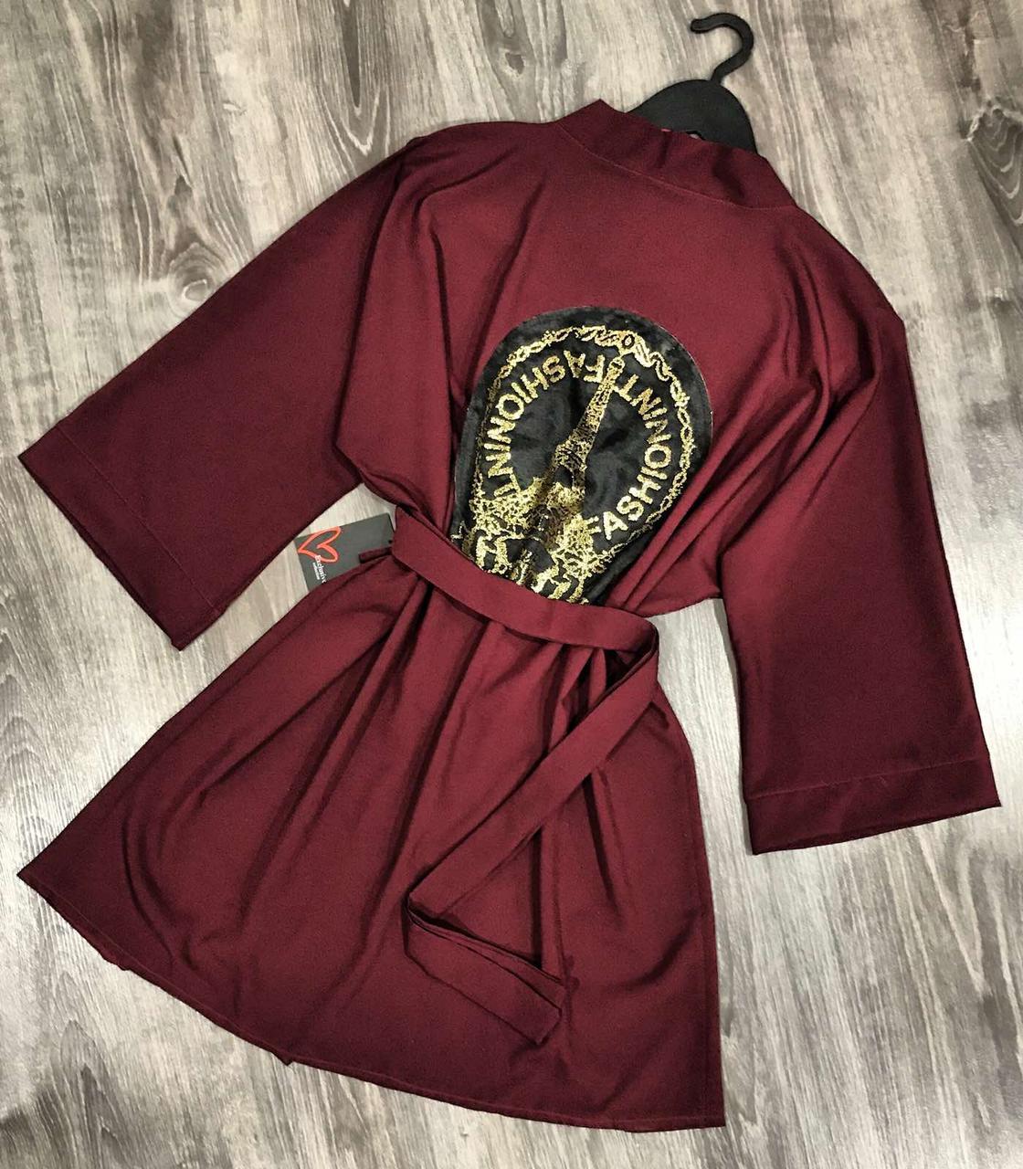 Женский домашний халат-кимоно из ткани софт