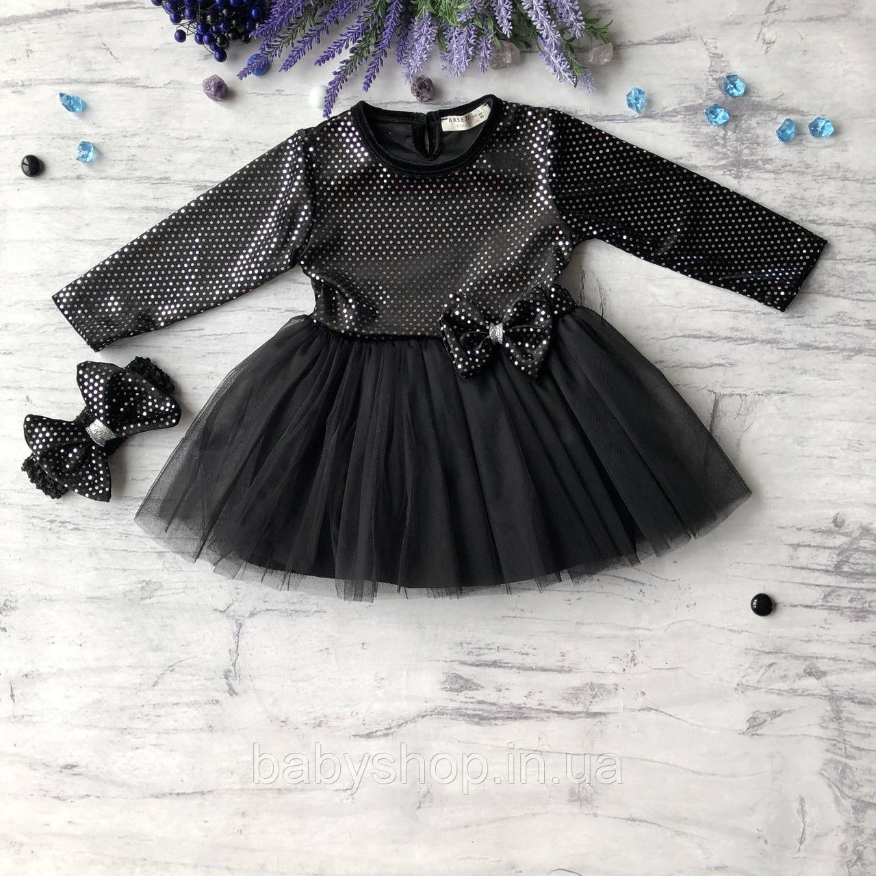 Черное пышное платье на девочку c повязкой Breeze 2. Размер 80 см, 92 см, 98 см, 104 см, 110 см