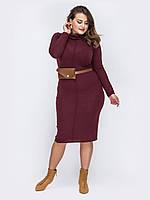 Бордовое  платье большой размер повседневное 48 50 52 54 56 58 60