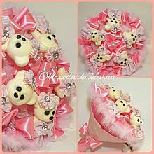 Букет из мягких игрушек Розовый / плюшевый букет / подарок для девочки на день рождения