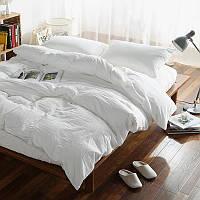 Льняное постельное бельё белого цвета Семейное