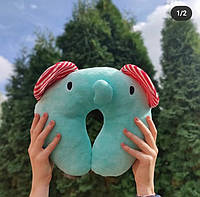 """Детская дорожная подушка Слон под голову """"Милые зверушки"""", туристическая для сна и отдыха"""