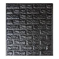 Самоклеющиеся 3D панели декоративные обои Sticker Wall 700x770x7мм черный кирпич.