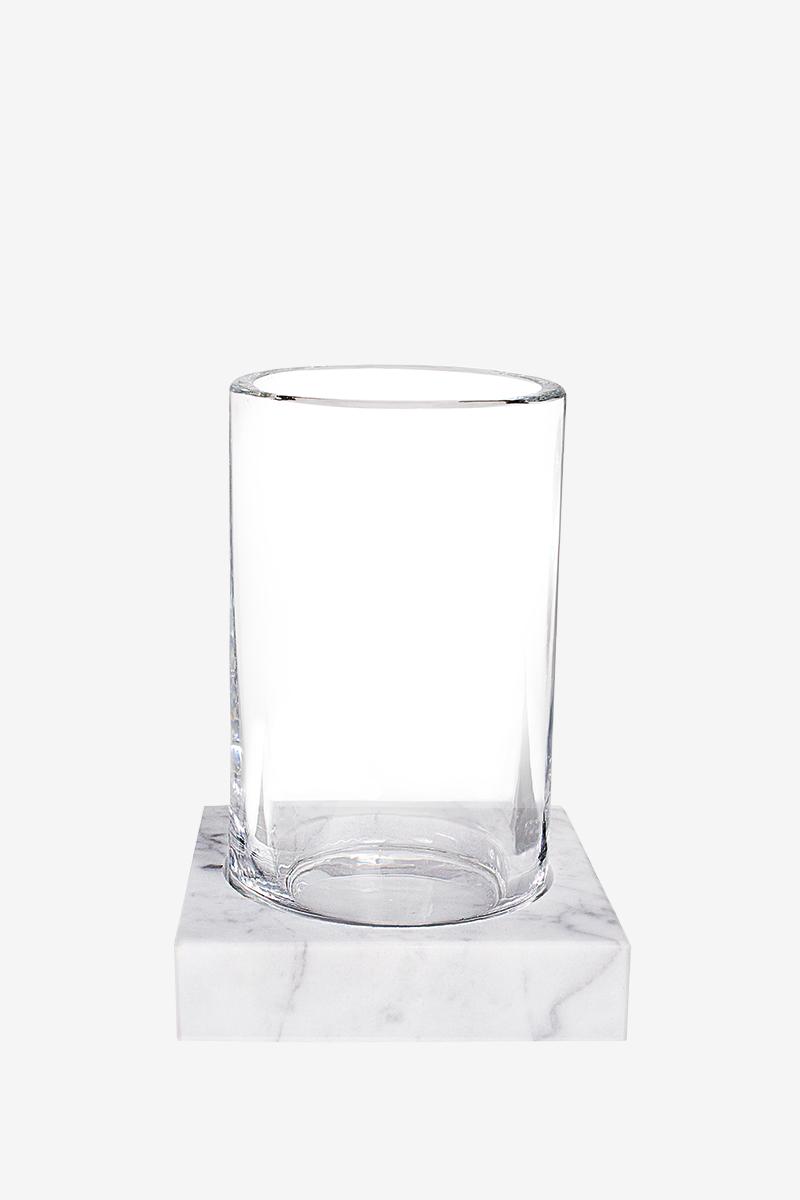 Склянку з підставкою з білого мармуру з сірими розводами AWD02341520