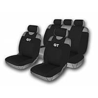 Комплект чехлов на сидения  автомобиля(майки)  514-5  (9 предметов)  черный GT