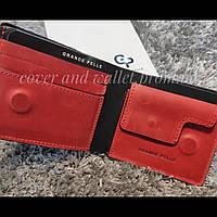 Червоно чорний гаманець ручної роботи на магнітах Grande Pelle