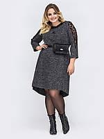 Темно серое  платье большой размер повседневное 48-5254-58