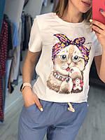 Женская модная футболка с Котиком