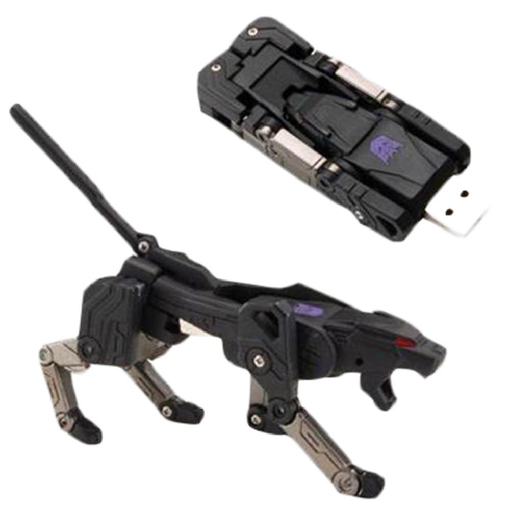 """Флешка-игрушка """"Трансформер, кошка, Пума, робот"""" 32 Гб (фиолетовый знак, серые лапы)"""