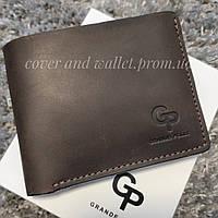 Вінтажний коричневий гаманець ручної роботи на магнітах Grande Pelle