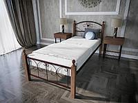 Односпальная кровать из металла с деревянными ножками Патриция Вуд Melbi. Ліжко односпальне металеве