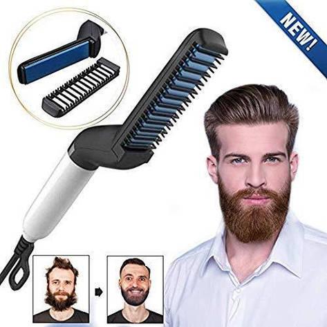 Щетка для выпрямления бороды, Быстрая расческа для выпрямления волос для мужчин Электрическая расческа, фото 2