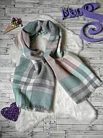 Теплый шерстяной шарф палантин в клетку женский