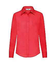 Женская рубашка с длинным рукавом Poplin красная 012-40