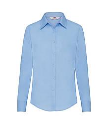 Женская рубашка с длинным рукавом Poplin голубая 012-УТ