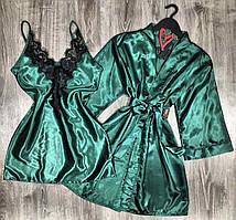 Атласный комплект халат+ ночная сорочка, домашняя одежда.