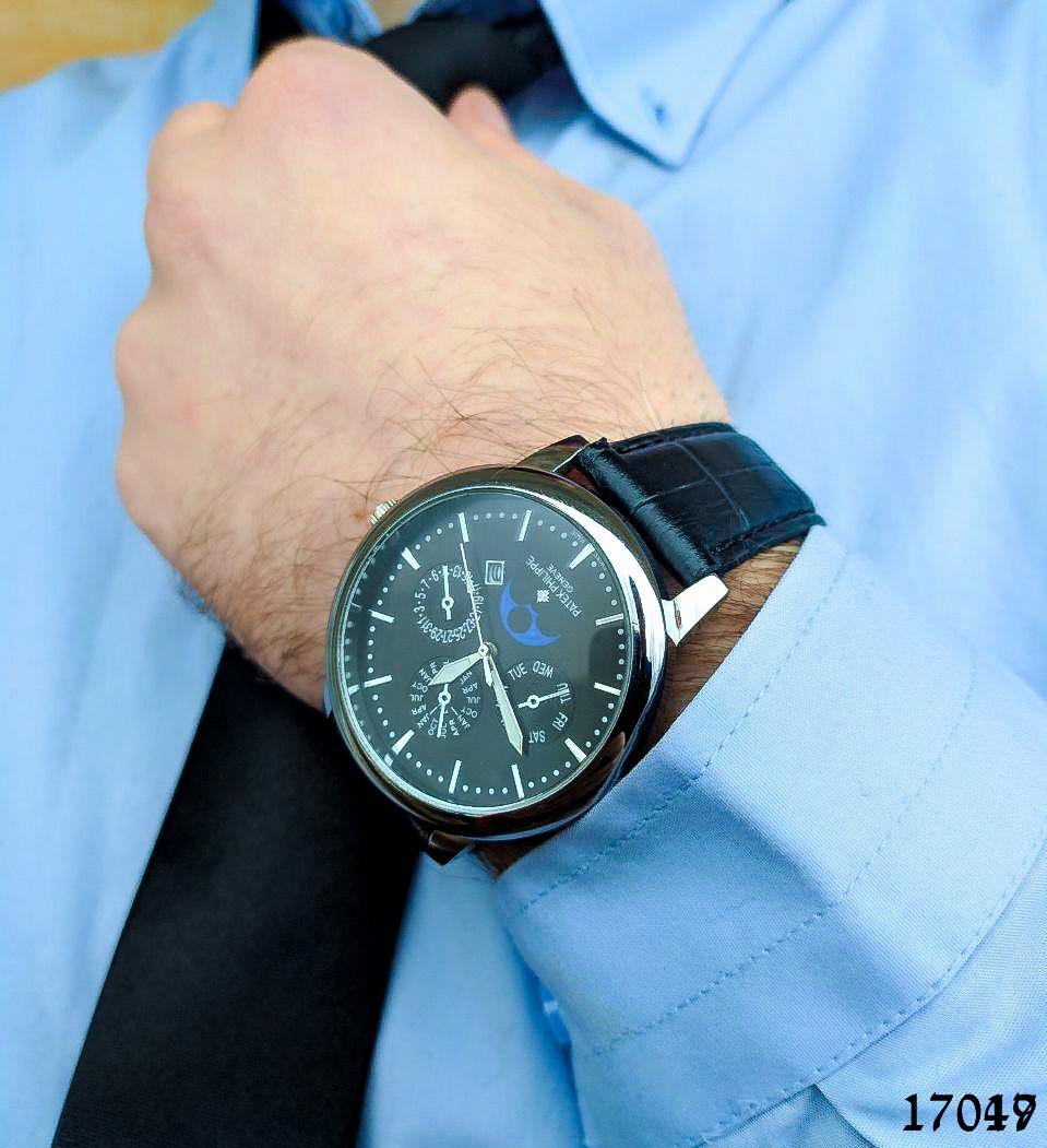 Часы мужские. Мужские наручные часы цвета серебро. Часы с черным циферблатом Годинник чоловічий