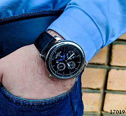 Часы мужские. Мужские наручные часы цвета серебро. Часы с черным циферблатом Годинник чоловічий, фото 2