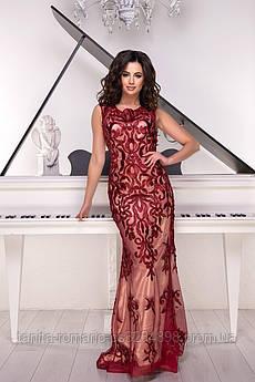 Розшита вечірня сукня годе бордового кольору