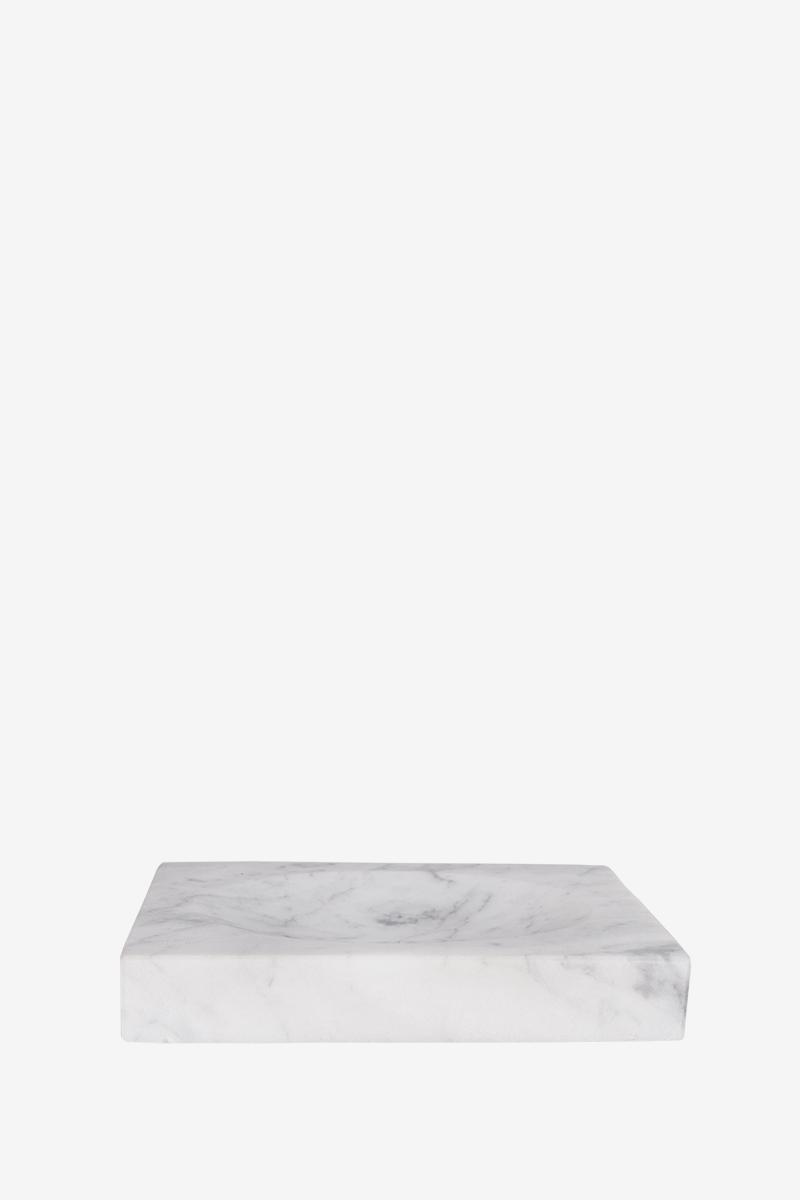 Мыльница из белого мрамора с серыми разводами AWD02341521