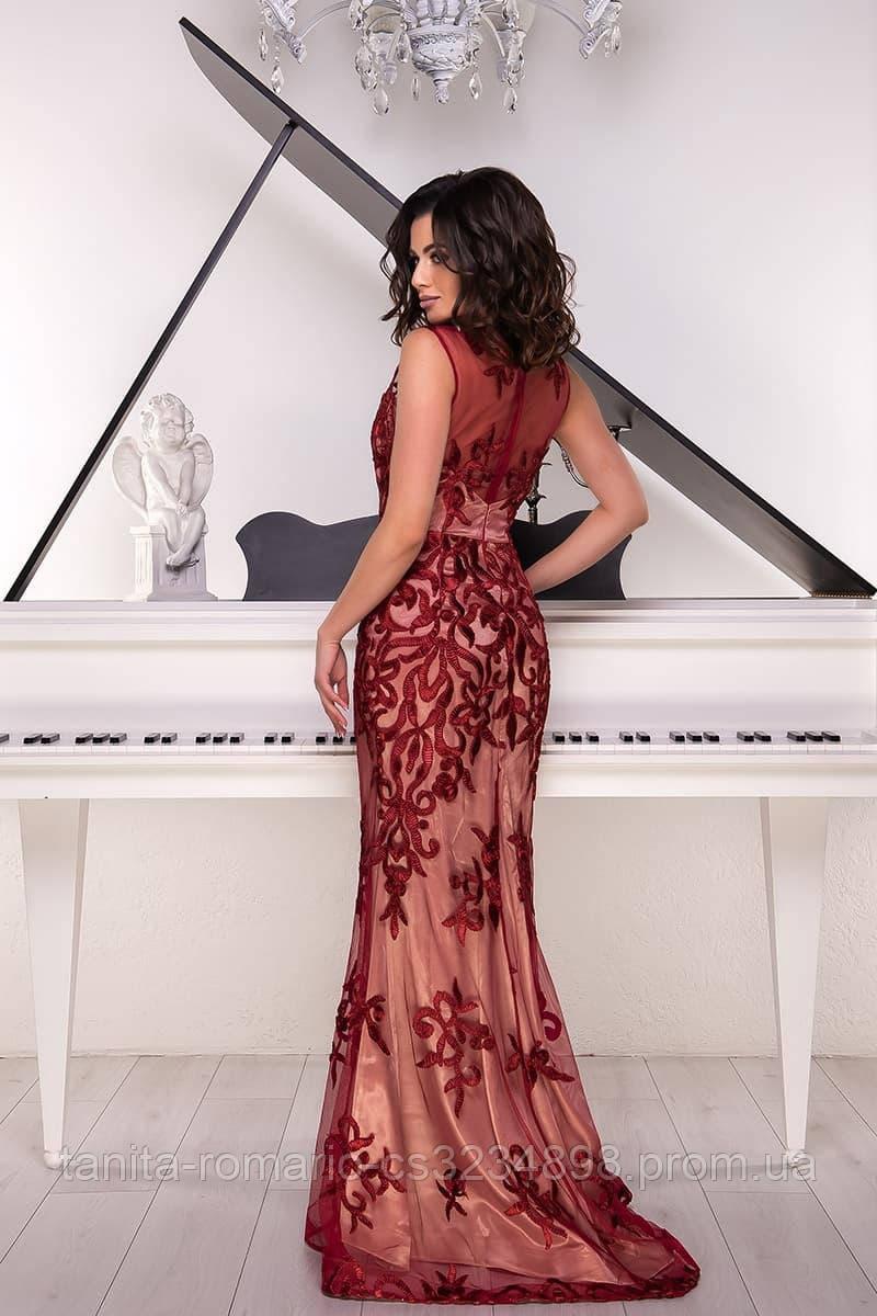 Розшита вечірня сукня годе бордового кольору S