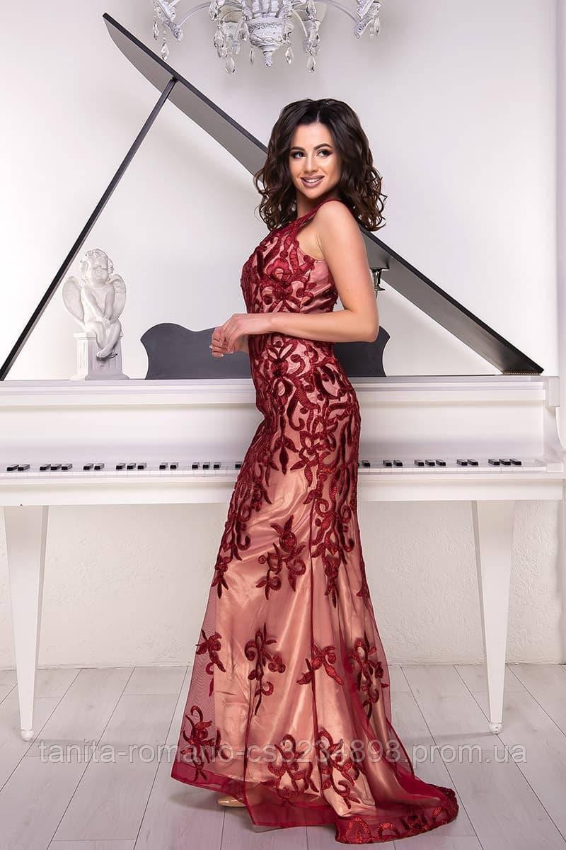 Розшита вечірня сукня годе бордового кольору M