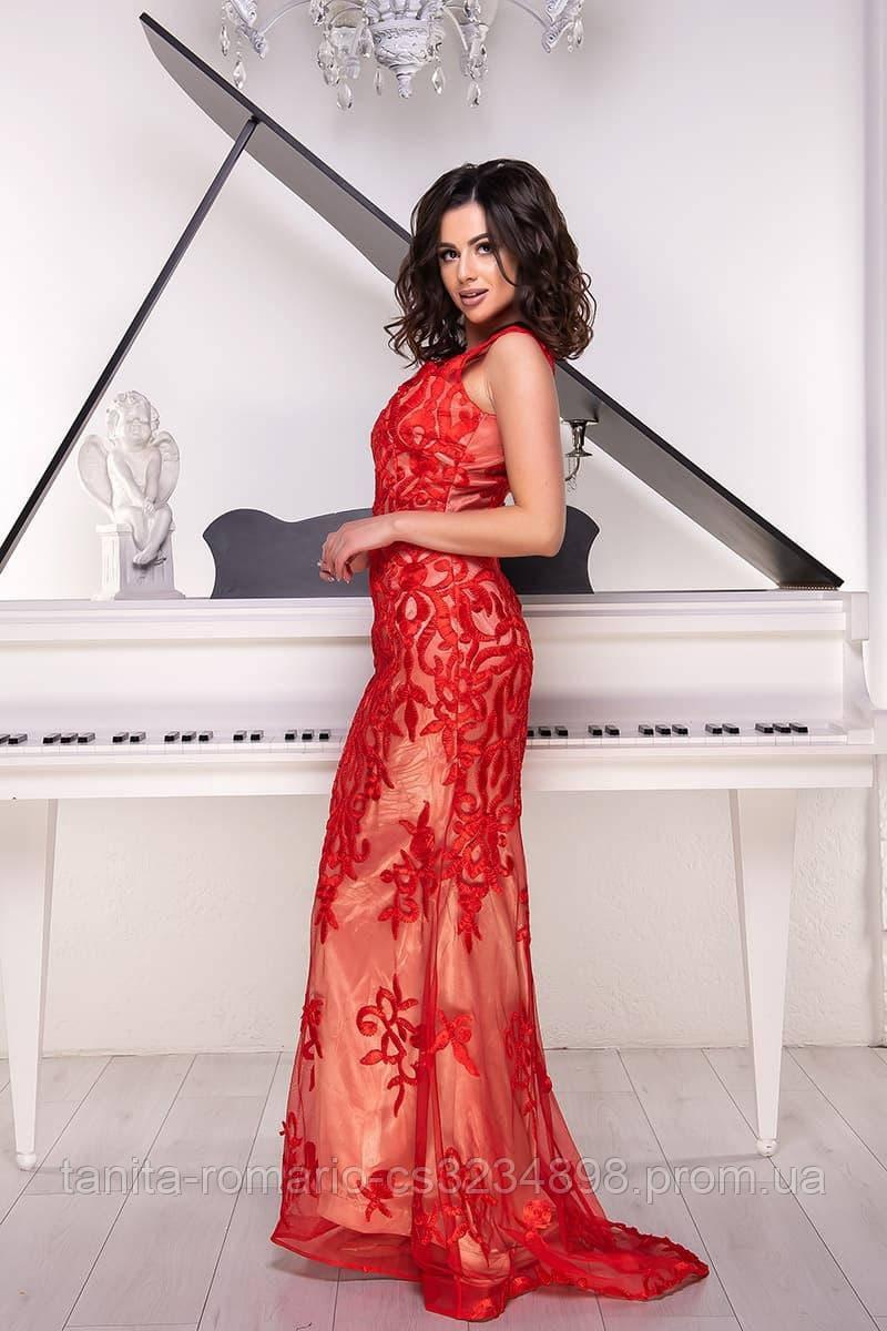 Розшита вечірня сукня годе червоного кольору M