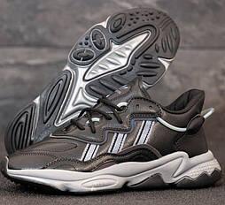 Мужские кроссовки Adidas Ozweego W Grey Four/Core Brown/Ash Silver рефлективные 41-45р. Живое фото. Реплика