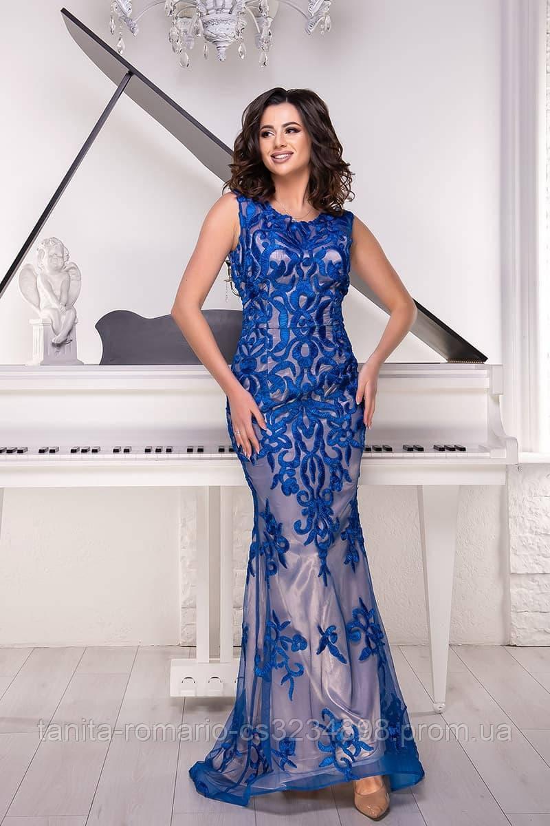 Розшита вечірня сукня годе синього кольору