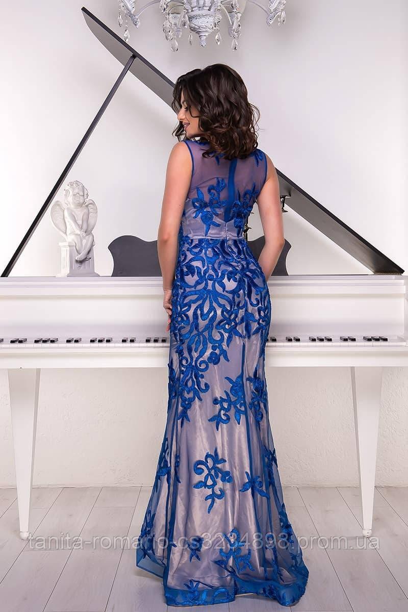 Розшита вечірня сукня годе синього кольору M