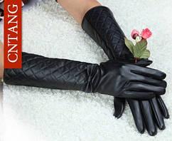 Длинные женские чёрные перчатки из экокожи - S (длина 40см, средний палец 8-9см, окружность ладони 19,5см)