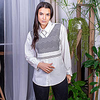 Женская рубашка-обманка мужского кроя (836) белого цвета, размер S/M