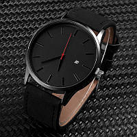 Мужские кварцевые часы MVMT кожаный ремешок (Чёрные)