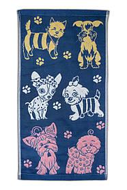 """Полотенце льняное для кухни с рисунком """"Собачки"""" синее 25х45см."""