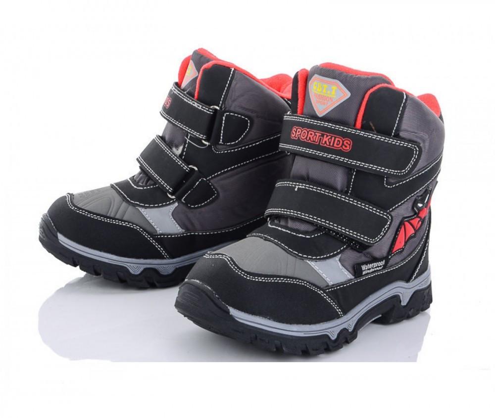 Высокие зимние термо ботинки для мальчика в чёрном цвете