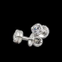 Серебряные серьги пусеты GS с камнями