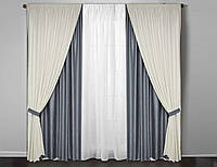 """Комплект штор в гостиную """"Бодрум"""" серые, белые ( шир.1,4м выс. 2,7м  меняем размер)"""