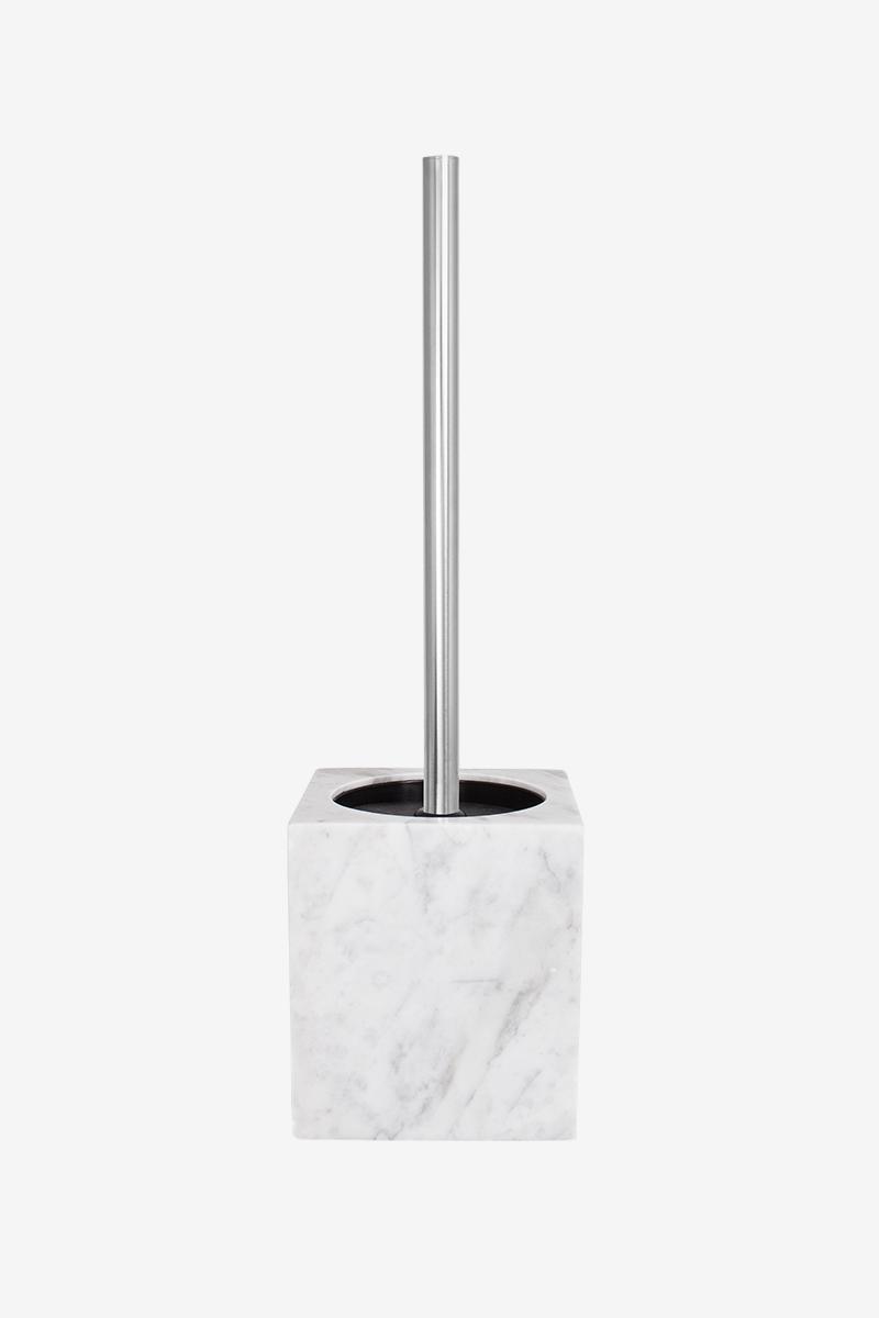 Ершик для унитаза из белого мрамора с серыми разводами AWD02341523
