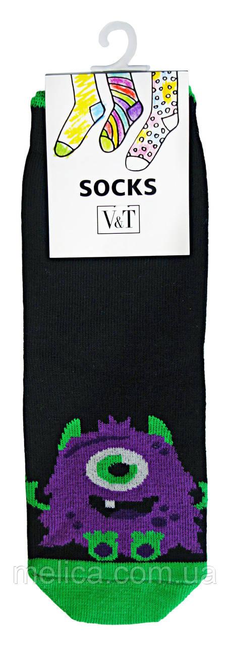 Носки детские Kids Socks V&T classic ШДКг 024-0471 Фиолетовый монстр р.16-18 Черный/зеленый кислотный
