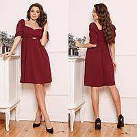 ЖІноче  плаття з декольте та прикрасою на поясі , 4 кольори.Р-ри 42-58, фото 1