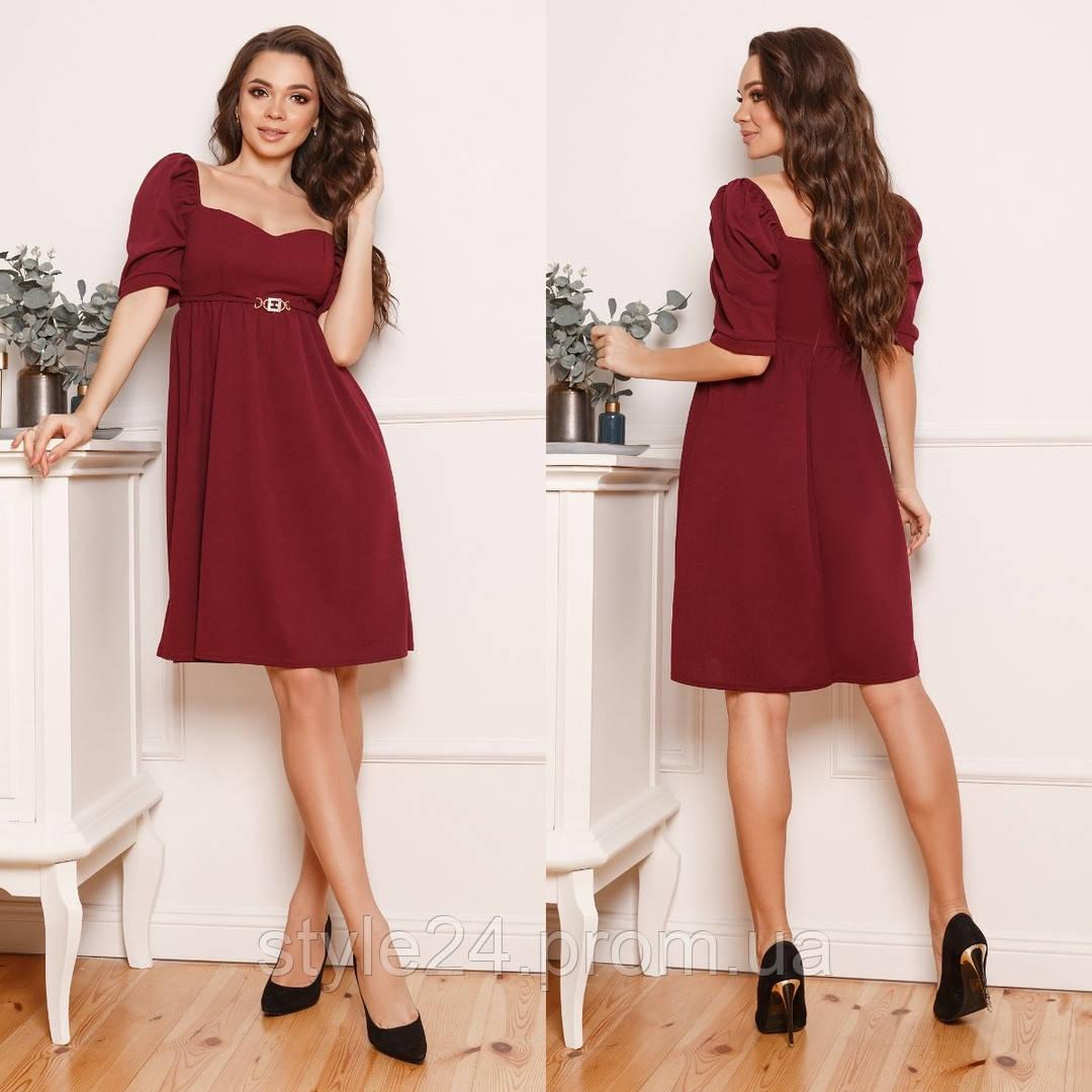 ЖІноче  плаття з декольте та прикрасою на поясі , 4 кольори.Р-ри 42-58