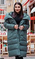 Куртка зимняя женская молодежная большого размера  856574-4 зеленый