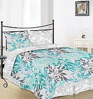 Простынь на полуторную кровать Вилена бязь Голд Веточка бирюзовая размер 145х220