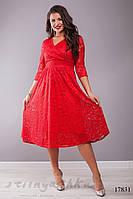 Большое гипюровое платье с декольте красное, фото 1