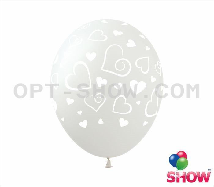"""Воздушные шары Сердечки большие на прозрачном 12"""" (30 см)  ТМ Show"""