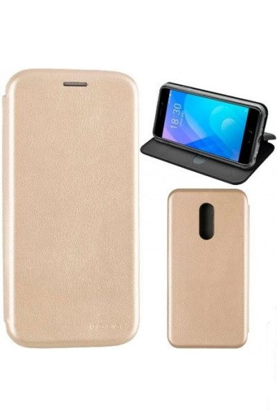 Чехол книжка на Huawei Honor 7a Pro Золотой кожаный защитный чехол для телефона, G-Case Ranger Series.