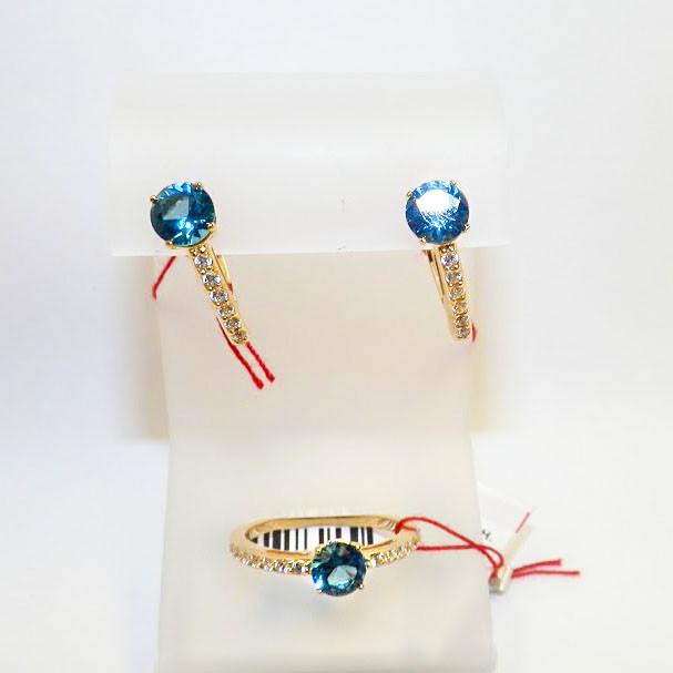 Золотые серьги и кольцо с топазом лондон блю Эмилия